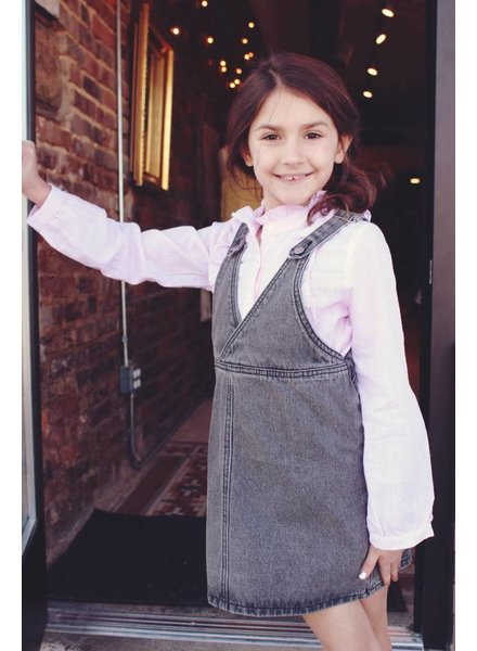 Girls grey denim overall dress