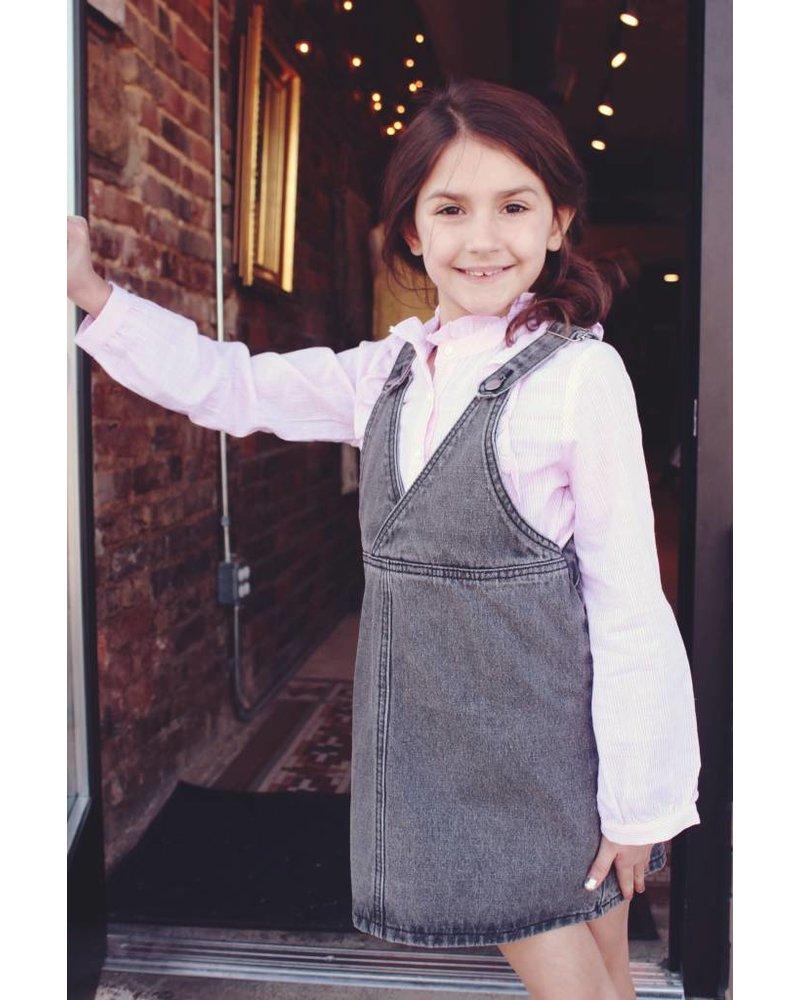 Girls grey denim overall dress
