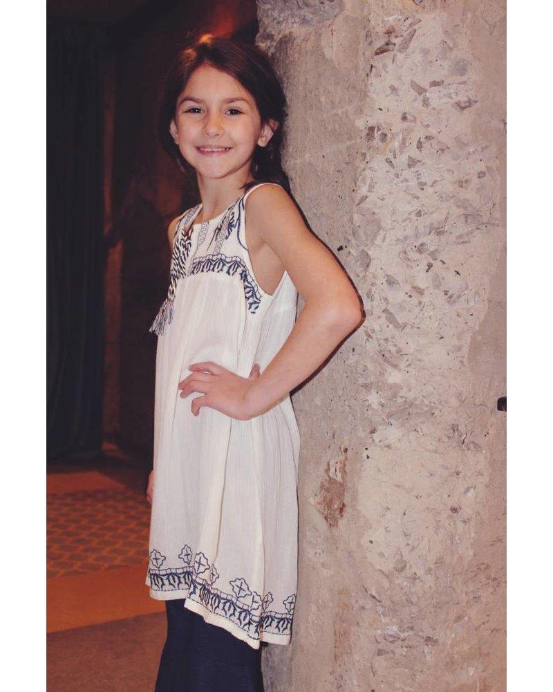 Girls cream embroidered dress
