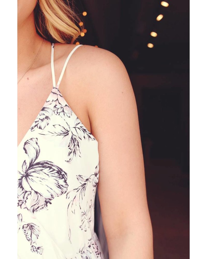 Ivory floral high-low maxi
