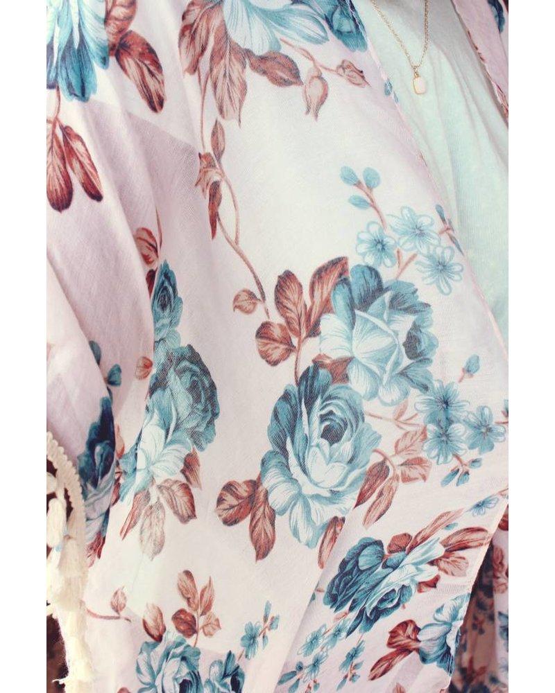 Blue Rose Tassel kimono