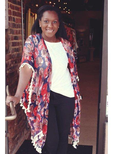 Navy Daisy tassel Kimono