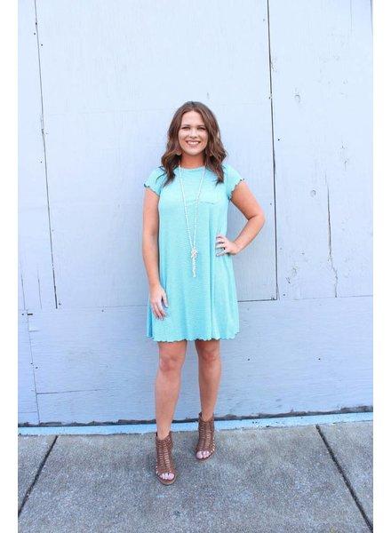 Aqua Stripe Swing Dress