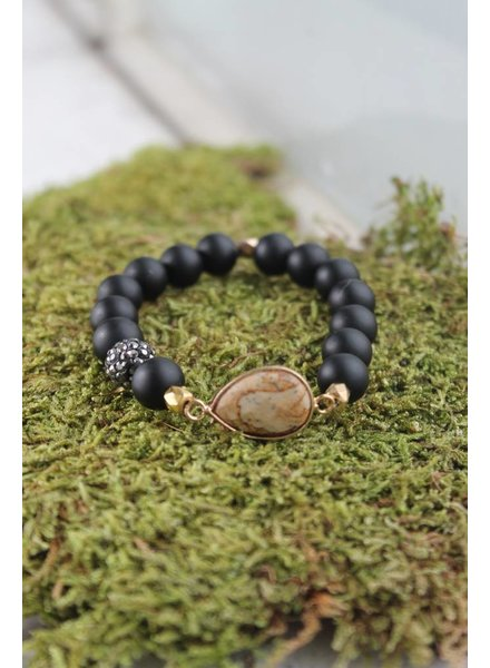 Black Teardrop Bracelet