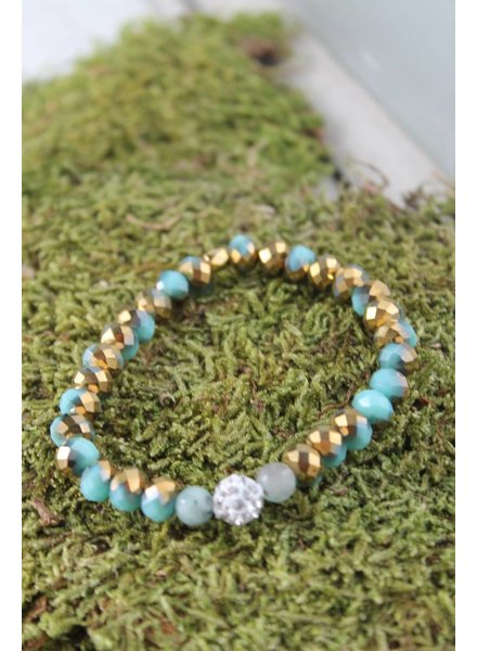 Aqua/Brown Sparkle Bracelet