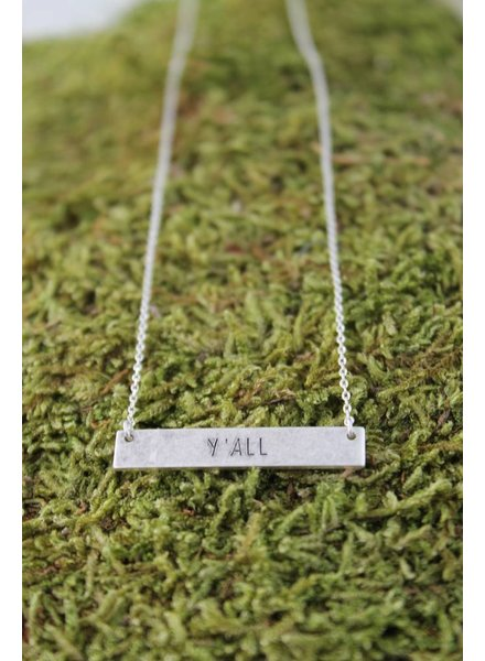 "Dainty ""Y'all"" Bar Necklace"