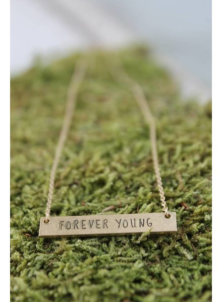 """Dainty """"Forever Young"""" Bar Necklace"""