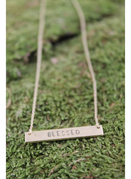 """Dainty """"Blessed"""" Bar Necklace"""