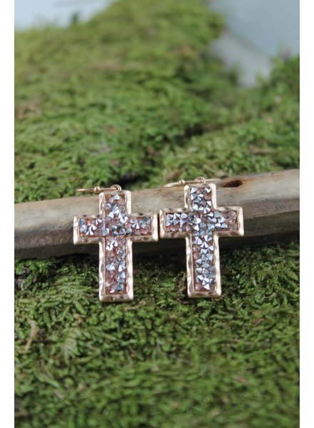 Rose Gold Druzy Cross Earrings