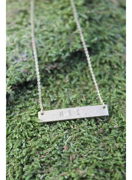 "Dainty ""Mrs."" Bar Necklace"