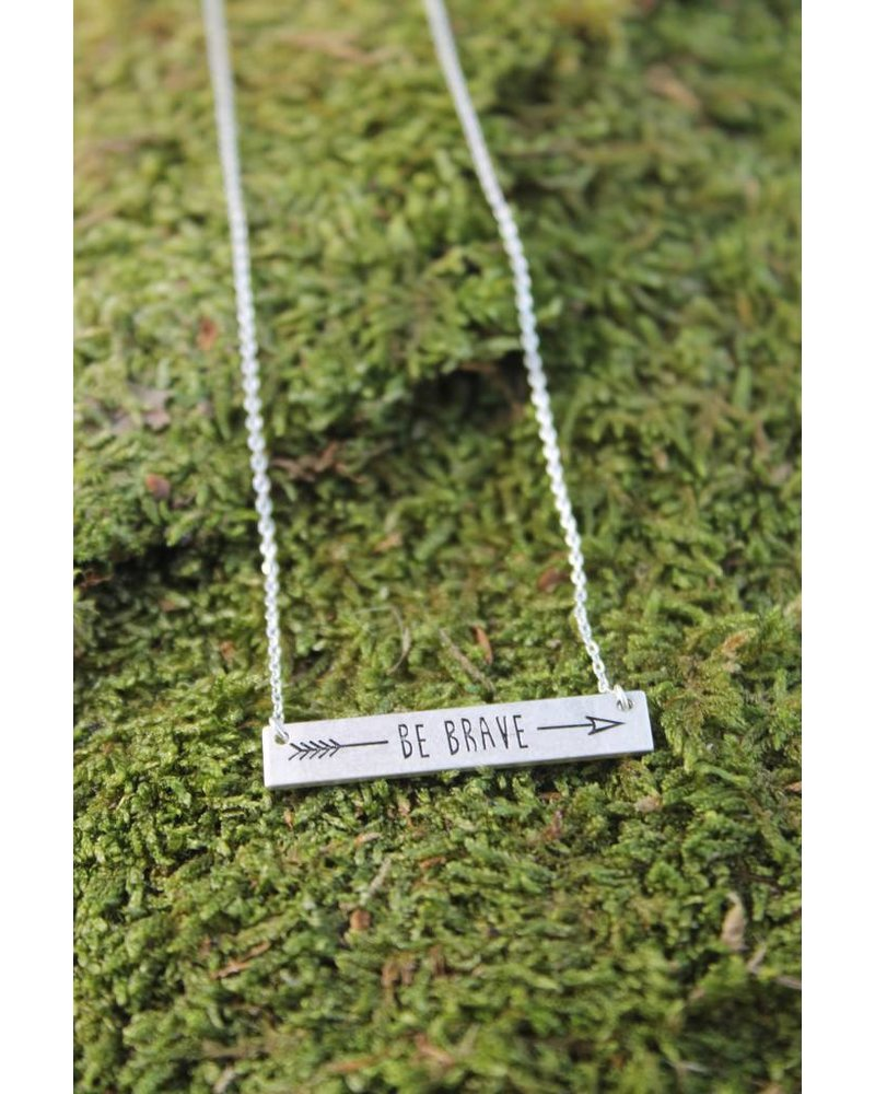 Be Brave Bar Necklace Silver