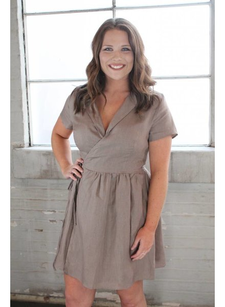 Listicle Linen Wrap Dress