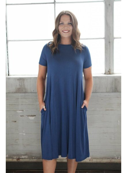 Lt. Navy Bamboo Midi Swing Dress