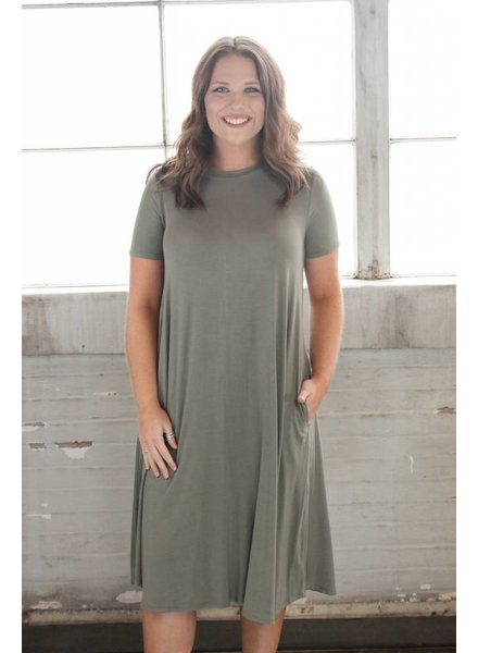 Moss Bamboo Midi Swing Dress