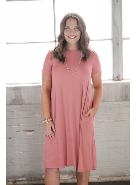 Peach Bamboo Midi Swing Dress