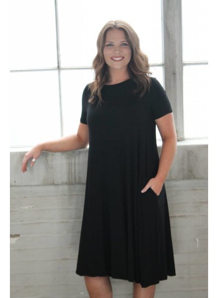 Black Bamboo Midi Swing Dress