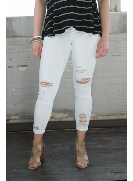 cello Pick Me Up White Distressed Skinnies