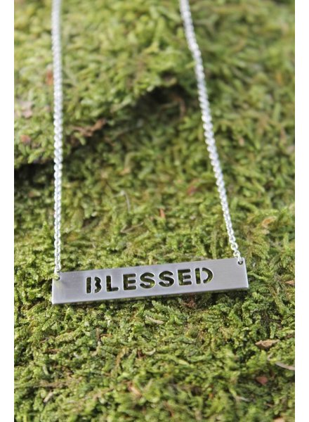 Blessed Block Necklace Silver