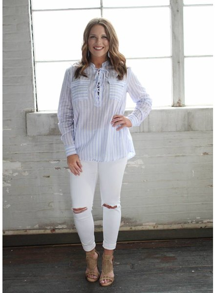 easel Lilac Lucy Stripe Top