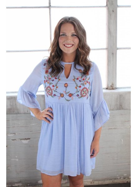 Burnout Embroidery Dress Periwinkle