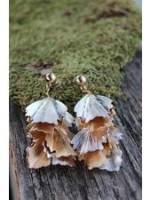 Golden Stella Plated Petal Dangle Earrings