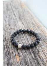Golden Stella Black Lava Rock Bracelet