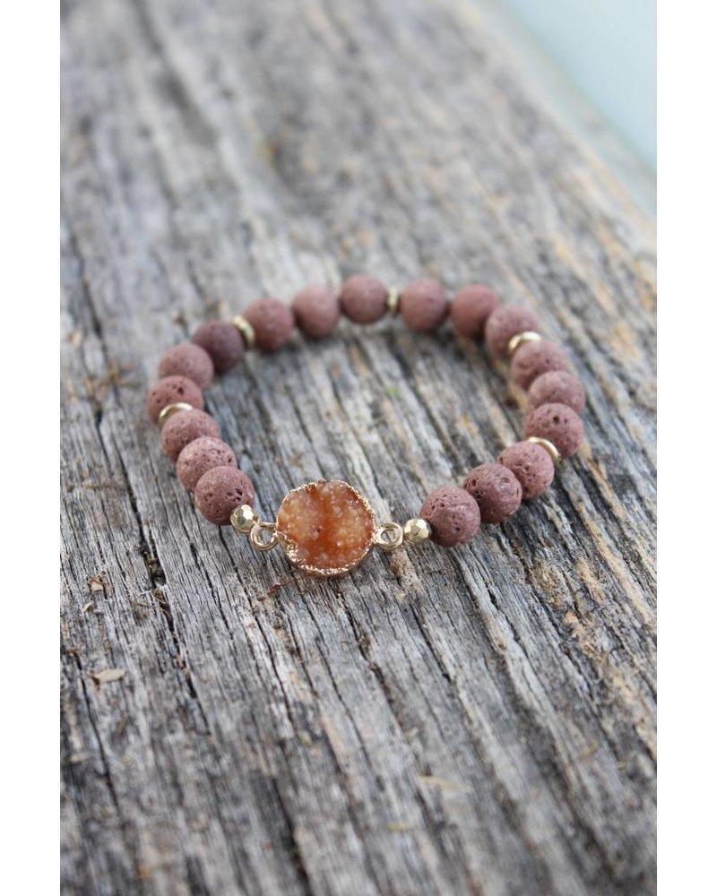 Golden Stella Clay Lava Rock Bracelet