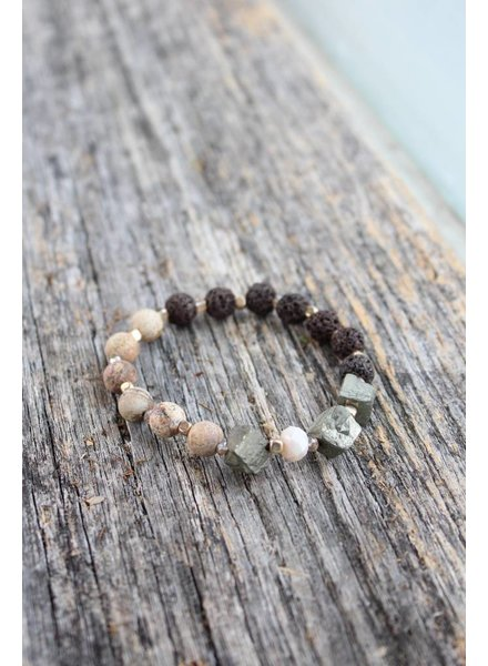 Golden Stella Earth Lava Rock Bracelet