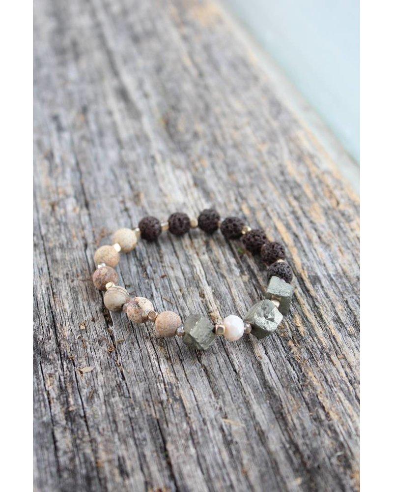 Golden Stella Earth Lava Rock Bracelet