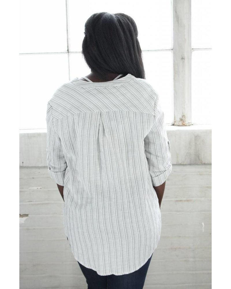 Listicle Linen Stripe Cross Top LT0273