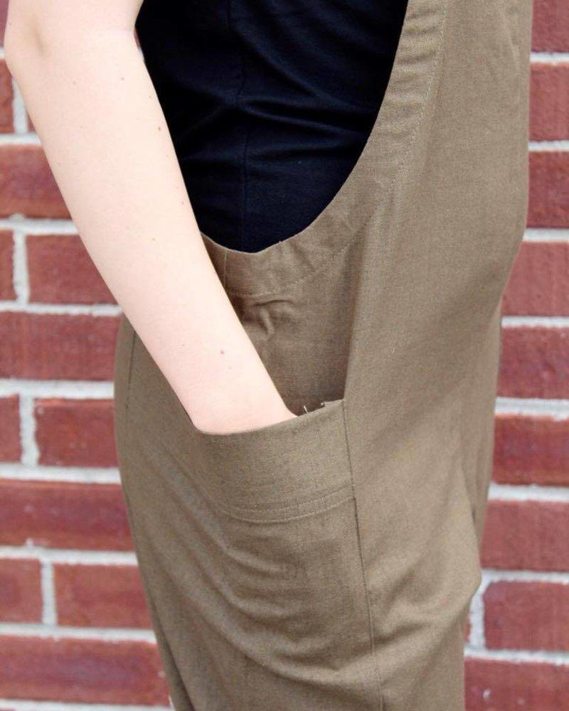 Cross Back Faux Linen Jumpsuit