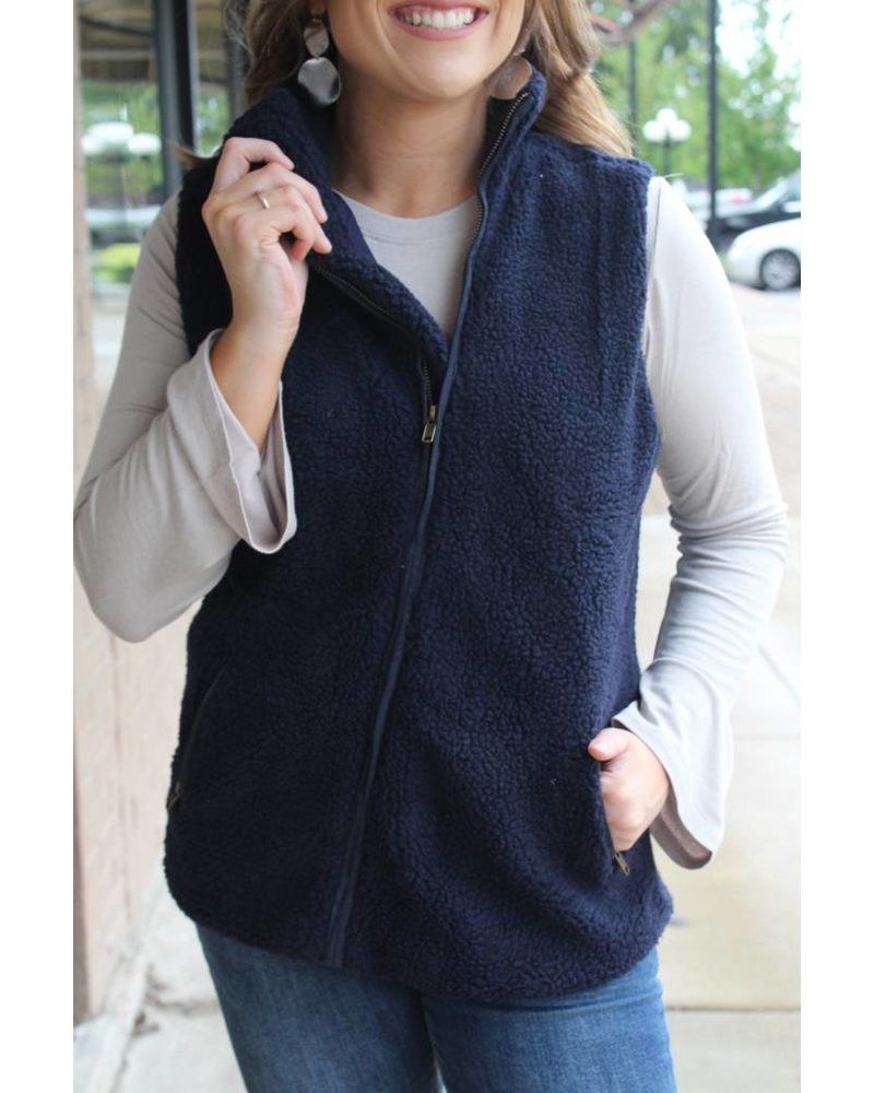 Fashionistas Leigh Navy Fleece Vest T1244025IMK