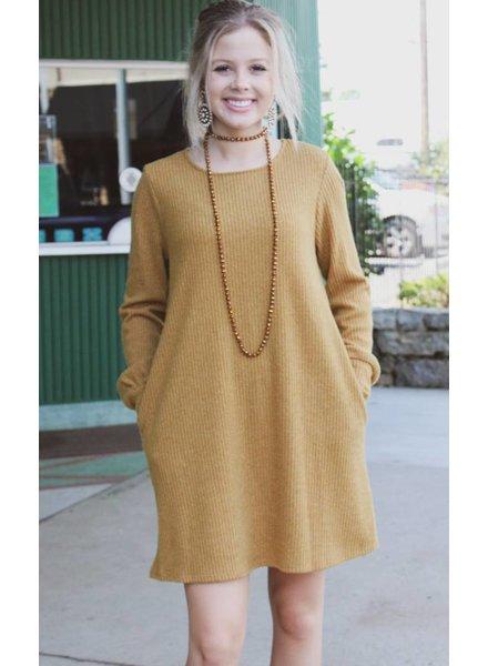 Peach Love Ashley Knit LS Dress Mustard KD31447