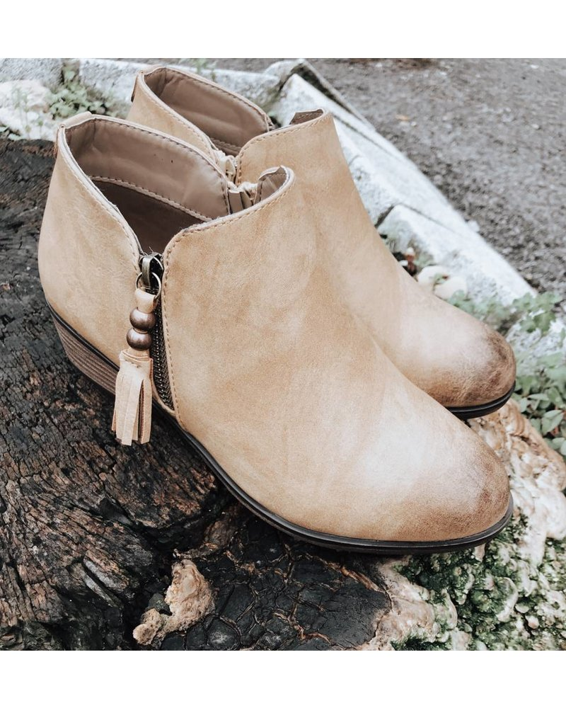 Lets See Style Mel Burnished Beige Booties