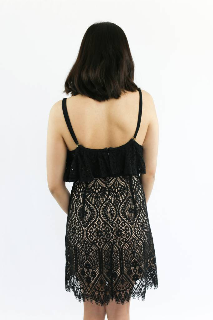 Plunge V-Neck Lace Dress