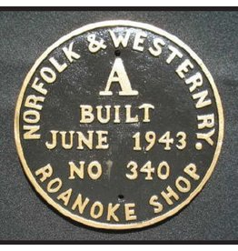 CUSTOM 26208	 - 	NORFOLK & WESTERN BUILILDER PLATE - A