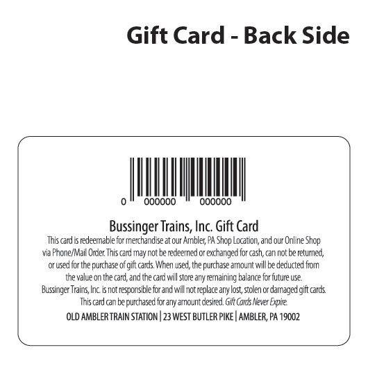 Bussinger Trains Custom Gift Card Bussinger Trains