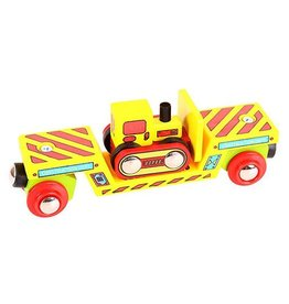 Big Jig Toys BULLDOZER LOADER WOODEN TRAIN CAR