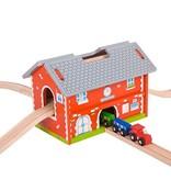 Big Jig Toys RAILWAY STATION CARRY SET - WOODEN TRAIN SET w/ TRACK