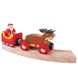 Big Jig Toys SANTA SLEIGH WITH REINDEER - WOODEN TRAIN