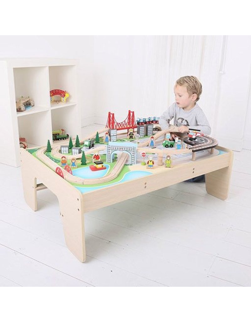 Superior ... Big Jig Toys CITY TRAIN SET U0026 TABLE   WOODEN PLAYSET