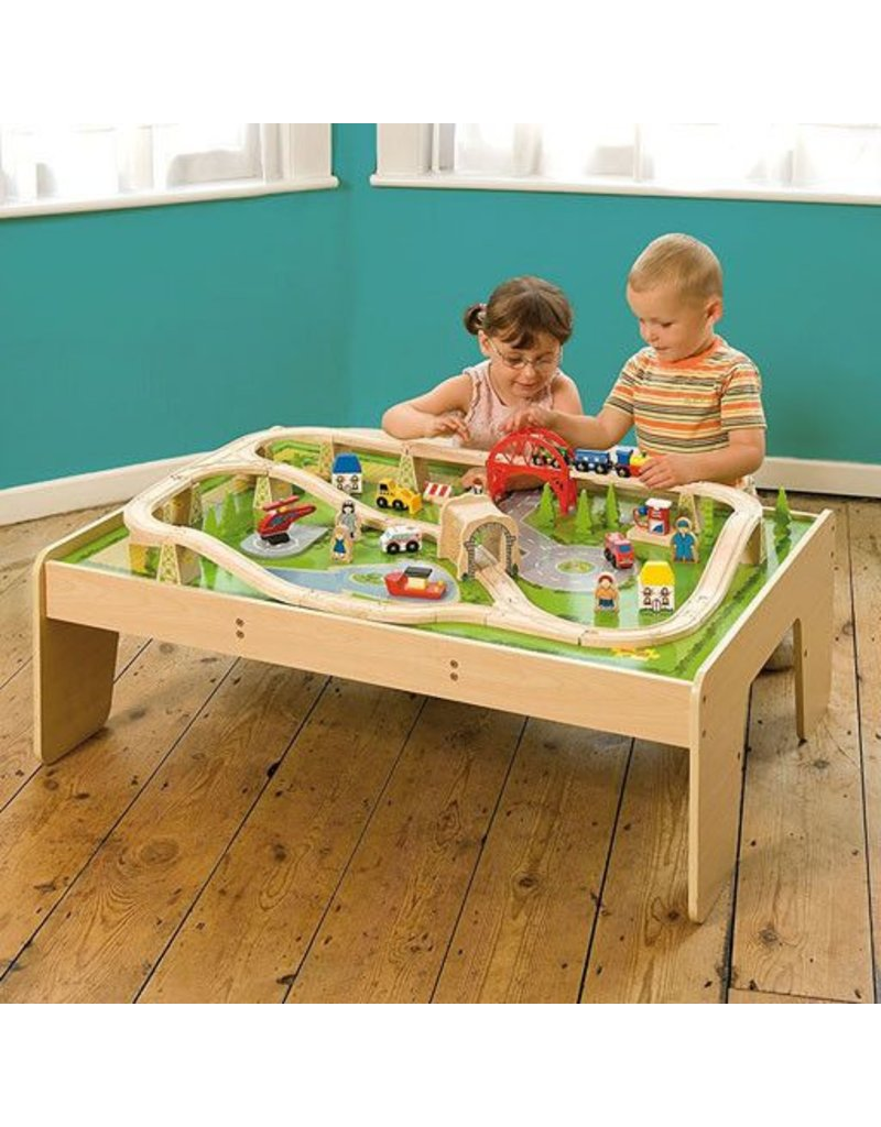 Big Jig Toys SERVICES TRAIN SET  TABLE WOODEN PLAYSET - Train set table