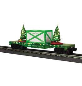 MTH - RailKing 30-76673 Flat Car w/ Lighted Christmas Trees