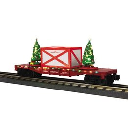 MTH - RailKing 30-76672 Flat Car w/ Lighted Christmas Trees