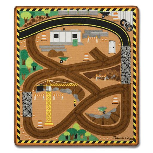 Melissa & Doug 2075	 - 	M&D ROUND THE CONSTRUCTION ZONE WORK SITE RUG & VEHICLE SET