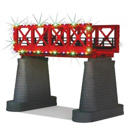MTH - RailKing 40-1116 Red Girder Bridge with oper. Xmas lights
