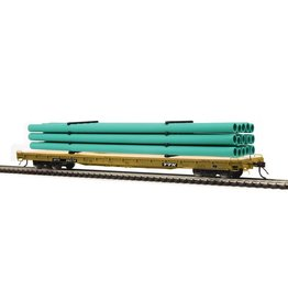 MTH - HO #80-98046, HO TTX (#90278) 60' Wood Deck Flat Car with Green Pipe Load