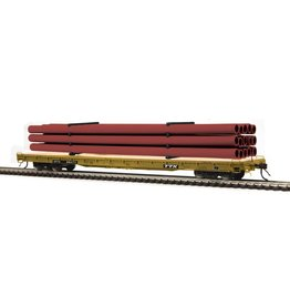 MTH - HO #80-98048, HO TTX (#90282) 60' Wood Deck Flat Car with Maroon Pipe Load