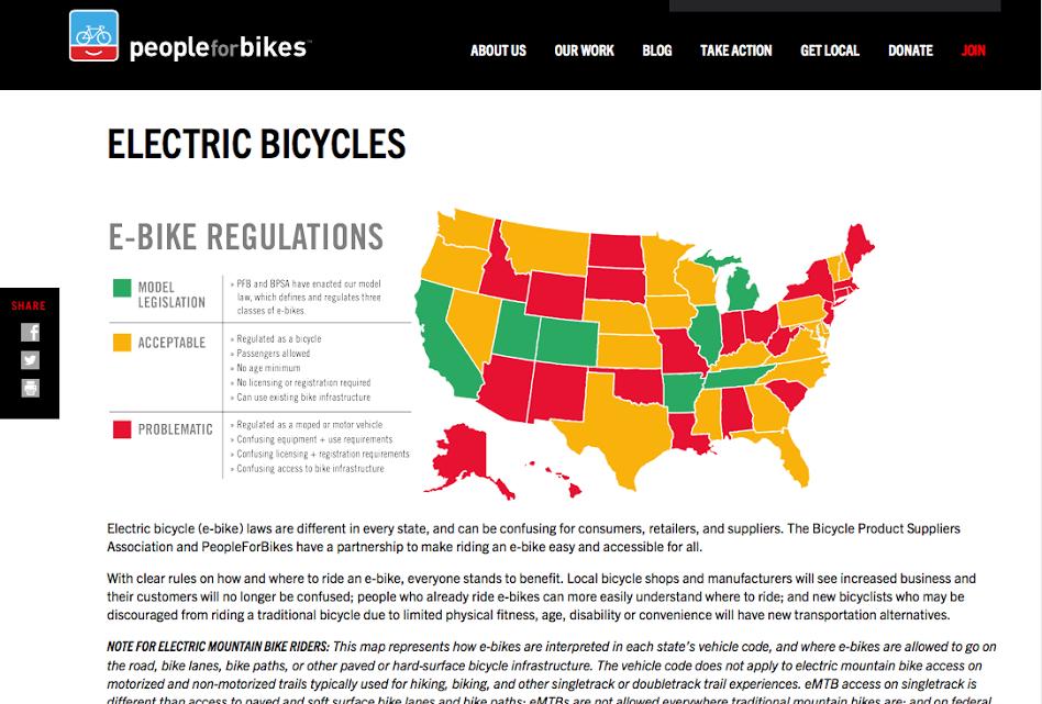 e-Bike regulations by state