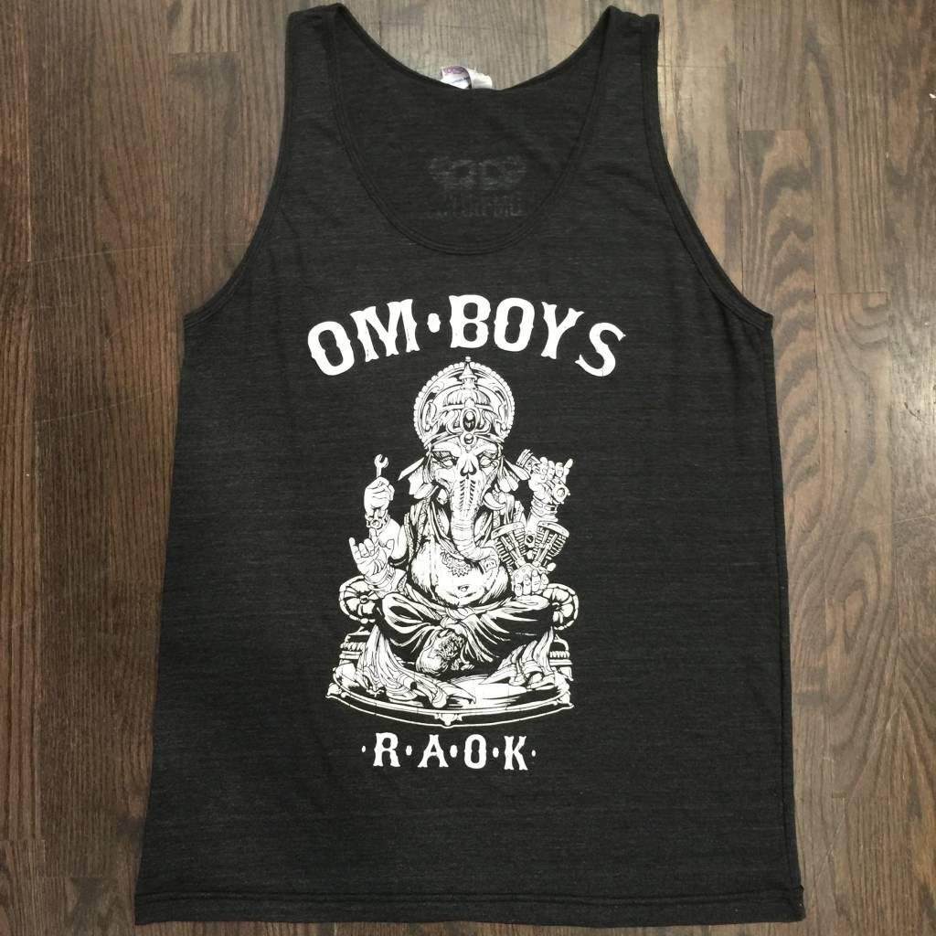 BW102-CHAR-GA - Om Boys - Mens Tri-Black Tank Tops